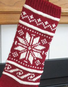 Red and Off White Knit Christmas Stocking by SoftAndSimpleDesigns