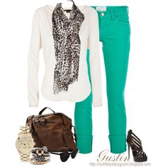green and animal print, created by stacy-gustin on Polyvore