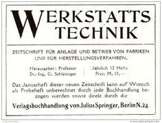 Original-Werbung/ Anzeige 1907 - ZEITSCHRIFT WERKSTATTS-TECHNIK / VERLAGSBUCHHANDLUNG SPRINGER - BERLIN - Ca. 75 X 50 Mm - Werbung