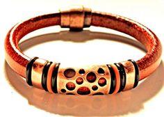 Leather Bracelet Cuff, Whiskey Brown Regaliz leather PICK YOUr SIZe | egrobeck - Jewelry on ArtFire