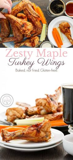 Zesty Maple Turkey Wings #sponsored   The Super Bowl is happening soon and not everyone wants unhealthy recipes! These turkey wings are the perfect appetizer as they are baked, not fried, super crispy, and gluten-free! Plus, turkey wings are way cheaper than chicken wings, so take the leap! #turkeywings #SuperBowl #SuperBowlParty #appetizer #recipe #glutenfreerecipe