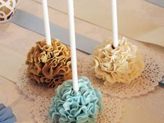 Pretty ruffle cake pops at a teddy bear baptism party! See more party ideas at CatchMyParty.com!