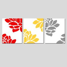 Modern Floral Trio - Set of Three Large Scale Floral 11x14 Coordinating Prints - Pink, Yellow, Red, Orange, Green, Gray, and More. $59.50, via Etsy.
