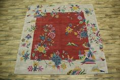 Classic Floral Square! 10x10 Art Deco Chinese Pattern Oriental Area Rug Carpet #HandTufted #TraditionalEuropean