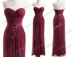 Strapless Sweetheart Long Chiffon Wine Red Bridesmaid Dresses, Wedding party Dresses, Simple Prom Dresses