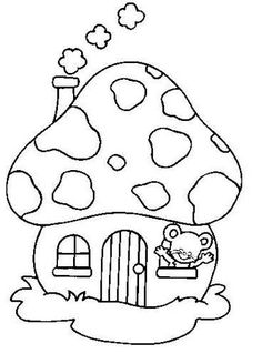 Print out Easter Bunny Mushrooms House Coloring Page for