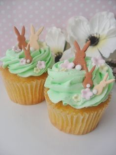 Fondant Bunny Toppers by LeSugarBoutique on Etsy, $9.50