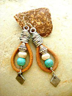 Boho Earrings  Boho Jewellery  Leather Earrings by HandcraftedYoga, $35.00