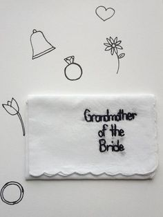 Grandmother of the Bride Hand Embroidered Handkerchief and Wedding Keepsake by wrenbirdarts