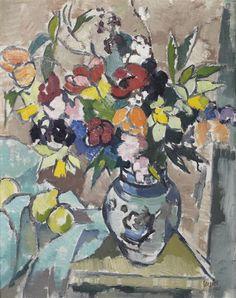 Still Life With Vase Of Flowers And Citrus Fruit - Gregoire Boonzaier Flower Vases, Flower Art, South Africa Art, South African Artists, Still Life Art, Illustration Sketches, Caravaggio, Minimalist Art, Michelangelo