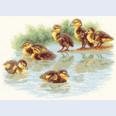 Baby Ducks First Swim - counted cross-stitch kit Vervaco