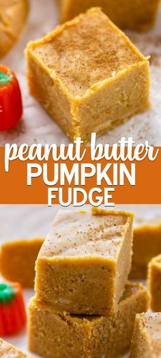 Peanut Butter Pumpkin Fudge is a must for fall! This foolproof pumpkin fudge has peanut butter in it - the combo sounds weird but it works. It& an easy fudge recipe everyone loves! Peanut Butter Recipes, Fudge Recipes, Gourmet Recipes, Candy Recipes, Cooking Recipes, Microwave Peanut Butter Fudge, Chocolate Peanut Butter Fudge, Chocolate Chips, White Chocolate