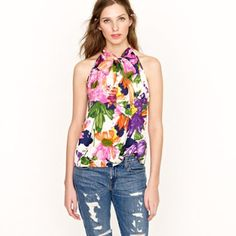 J.crew silk cami in garden floral print Beautiful top in like new condition, the colors and prints are very lovely on.  No trade and no PayPal, thanks! J. Crew Tops Camisoles
