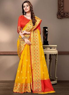 Cotton Silk Yellow Weaving Contemporary Saree