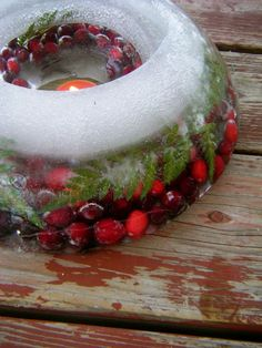 How to Make Ice Wreaths - how pretty for holiday entertaining.  This could be used for a drink/punch bowl, but I would also think about putting it as a centerpiece in a platter for items that might need to stay cold, such as a shrimp plate