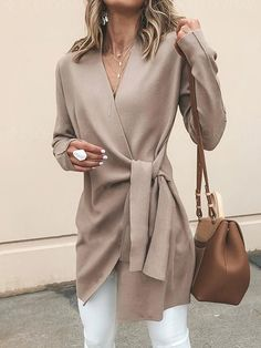 Women's Clothing,Outerwear,Khaki Cotton Long Sleeve Casual Solid V neck Cardigan