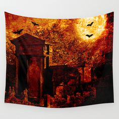 Tales of the crypt Wall Tapestry Somebody's ghost is leaving his crypt in an eerie fullmoon night.  Edited photo of my own with some layers and texture.   Creepy, halloween, ghost, spooky, graveyard, cemetery, uncanny, supernatural,  trees, silhouettes, fence, fullmoon, bats, animals, dark, red, black, eery, scary