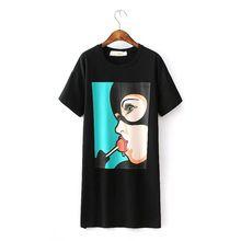 2016 mulheres t-shirt vestido Casual da verão com O pescoço impresso bolsos longo do algodão solto Plus Size frete grátis