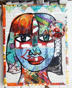 1. various painted papers 2. pencil drawing face on newspaper 3. collage papers on top, oil pastel eyes 4. paint black outlines