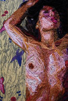 Drawing Human Figure Riveting, Naked Human Figures Embroidered On Mattresses - Textile Fiber Art, Textile Artists, Yarn Painting, Thread Painting, Textiles, Life Drawing, Drawing Tips, Embroidery Art, Fabric Art
