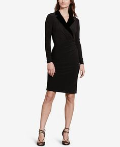 Lauren Ralph Lauren Velvet-Lapel Dress
