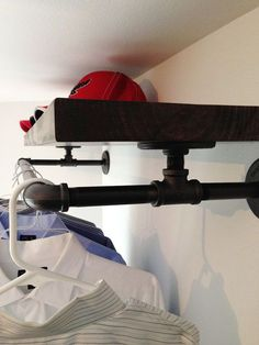 How to build an industrial plumbing pipe closet organizer. Redux.