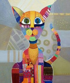 I love this artist,Silvia Pavlova. I think I can build an art lesson on patterns on a cat! National Art School, Kitty Drawing, Gatos Cat, Fantastic Art, Amazing, Art Classroom, Vintage Quilts, Cat Love, Cat Art