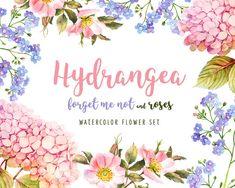 Wedding clip art bundle, Floral Clip Art, Hydrangea illustrations, Roses Clip Art