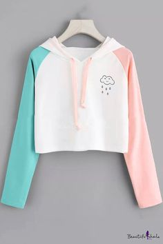 Alien Print Contrast Sleeve HoodieFor Women-romwe - Alexis is Word! Cute Lazy Outfits, Crop Top Outfits, Pretty Outfits, Stylish Outfits, Cool Outfits, Girls Fashion Clothes, Teen Fashion Outfits, Outfits For Teens, Casual Clothes