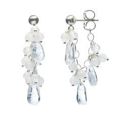 Kailani Chain Hoop Earrings by Michelle Pajak-Reynolds (Silver & Stone Earrings) | Artful Home