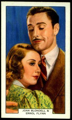 "International Cigarette Co ""Screen Lovers"" (unissued series of 48, 1930's) #16 Joan Blondell & Errol Flynn in ""The Perfect Specimen"""