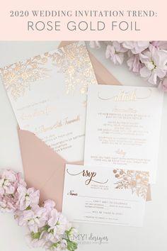 Rose Gold Wedding Invitations with Pink Florals for a Romantic, Glam Wedding Wedding Invitation Trends, Foil Wedding Invitations, Country Wedding Invitations, Wedding Invitation Wording, Floral Invitation, Invite, Wedding Stationery, Invitation Cards, Beautiful Wedding Invitations