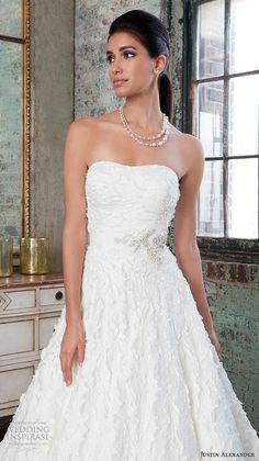justin alexander signature spring 2016 pretty a line wedding dress straight across neckline lace applique gown 9816 closeup