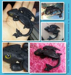 Toothless the dragon pendant by MadeWithLuv