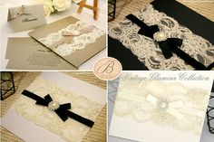 $11.25 Lace Wedding Invitations   Vintage Glamour Invitations - This elegant collection includes: Invitation Cards, envelopes, RSVP Cards, Wishing Well Cards and Place Cards.