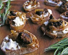 Goat Cheese, Caramelized Onion and Figs Bruschetta:  This is a show stopping appetizer.  Cook the onion/garlic/fig mixture the day before.  Pack the goat cheese into an oven-to-table crock and top with fig mixture.  Pop in the oven just before guests arrive.