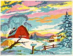 Winter's Sparkle by Avalon, Paint by Number kit. Rainbow Painting, Love Painting, Painting On Wood, Paint By Number Vintage, Paint By Number Kits, Number Art, Building Painting, Colouring Pics, American Indian Art