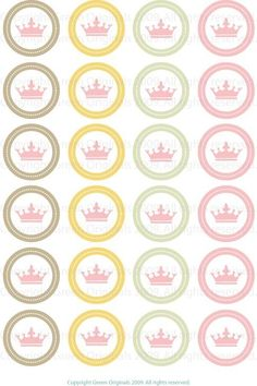 Items similar to Printable Round Stickers - Pink Crown on Etsy Crown Cupcake Toppers, Princess Cupcake Toppers, Princess Cupcakes, 1st Birthday Girls, Princess Birthday, Decorated Gift Bags, Greek Gifts, Princess Party Decorations, Princess Gifts