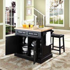 Wildon Home ® Linconl 3 Piece Kitchen Island Set with Butcher Block Top & Reviews | Wayfair