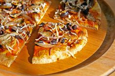 whole wheat pizza with pumpkin, black beans and caramelized onions, from The Perfect Pantry