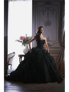 Black Ball Gown Gothic Wedding Dress - Devilnight.co.uk