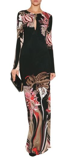 Roberto Cavalli floral embroidered evening gown