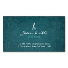 Teal Green Damask Hair Stylist Business Card