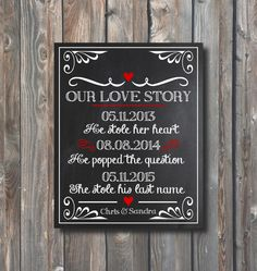 PRINTABLE Wedding Chalkboard-Our Love Story Sign-Personalized Wedding Reception,Rehearsal Dinner,Engagement Sign-Important Life Dates Sign by HappyFiestaDesign on Etsy https://www.etsy.com/listing/252755200/printable-wedding-chalkboard-our-love