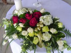 A wedding flower arrangement called Duet