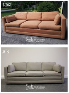 Switch Studio Before U0026amp; After: Reupholstered Couch With Solid Gray Fabric  And Piping.