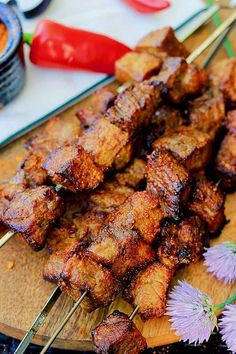 Suya - Traditional West African Skewers   196 flavors West African Food, South African Recipes, Africa Recipes, Suya Recipe, African Dessert, Beef Skewers, Kabobs, Veg Recipes, Kitchens