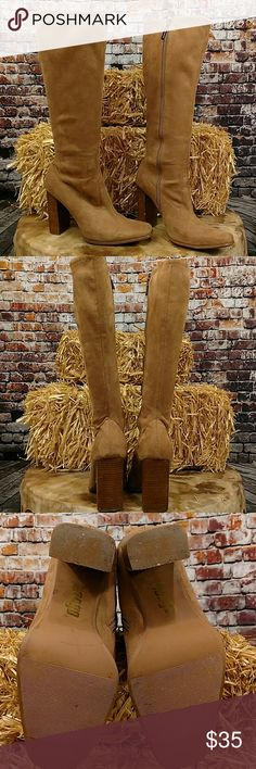 Faux Suede Tall Boots Vegan suede leather high heel boots by Bongo. Zip codes with Bongo logo zipper pull, faux stacked heel. 4 inch Heel has some scuff marks. Small pin hole at top of inside right boot. Size 7. Tan BONGO Shoes Heeled Boots