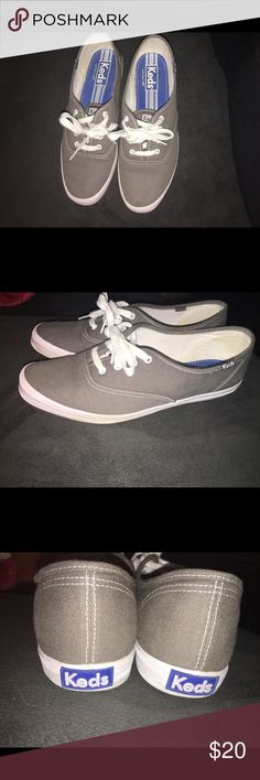 Grey canvas Keds Women's grey canvas Keds champion originals. Like new, only worn a few times! Keds Shoes
