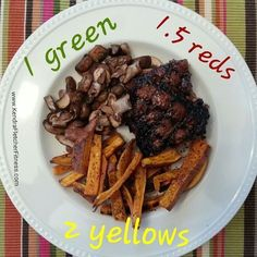 21 Day Fix - This was so good! Grilled steak with sweet potato fries and sauteed mushrooms.